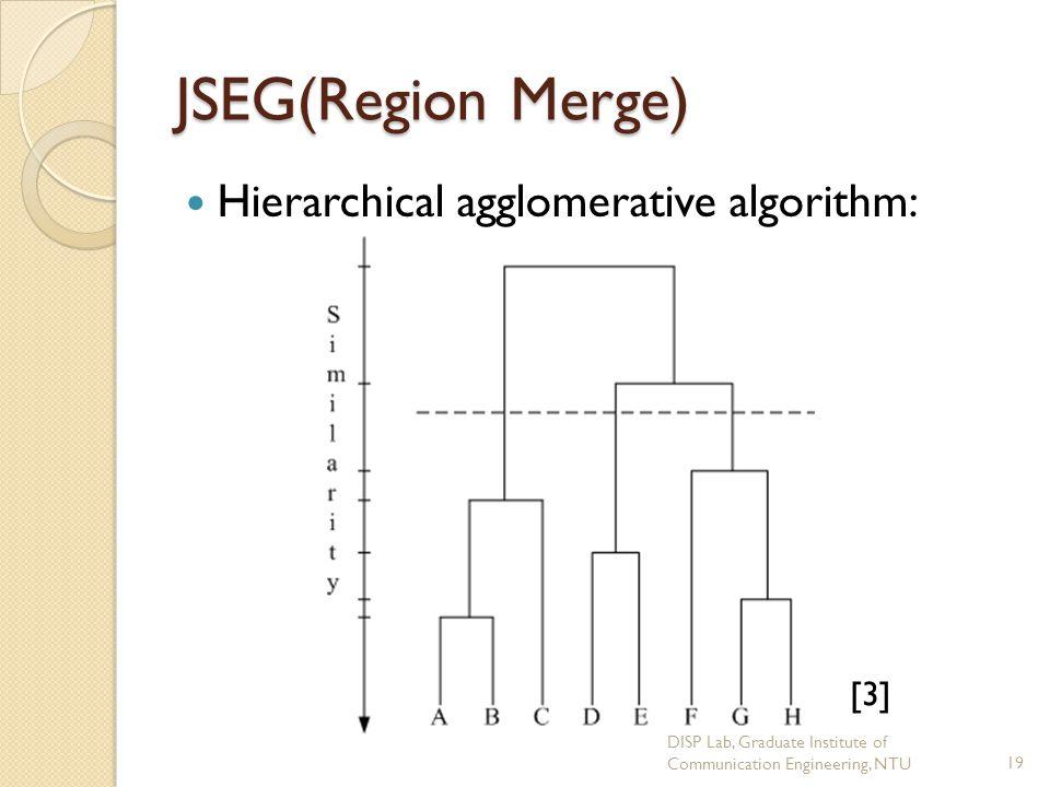 JSEG(Region Merge) Hierarchical agglomerative algorithm: [3]
